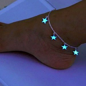 Luminous Silver Star Boho Anklet